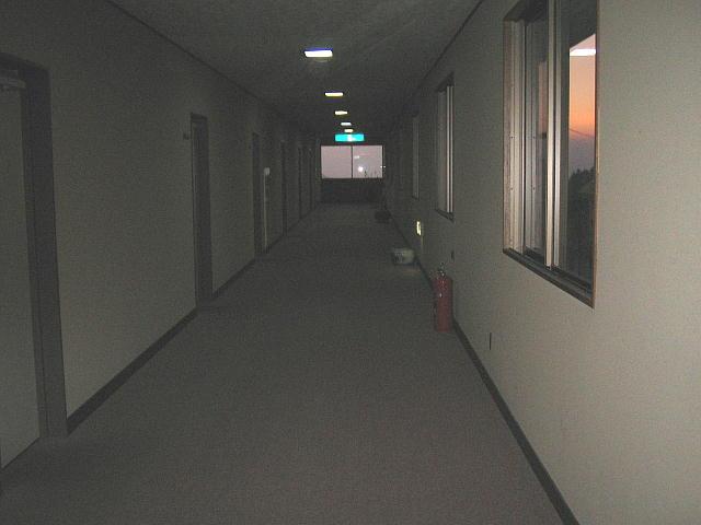 いい感じの明るくて広い廊下(ただし写真は暗くて陰気)♪