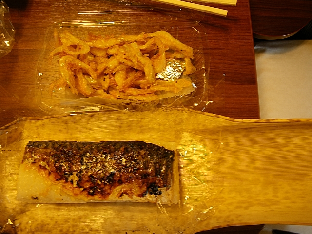 白えび天ぷら&焼さば寿司 (開封後)